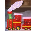 """55"""" Lighted Red Glitter Drenched Train Xmas Yard Art Decoration"""