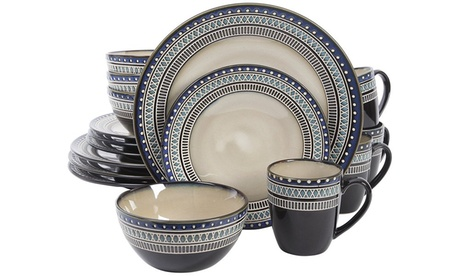 Gibson Magello 16 Piece Dinnerware Set, Cream/Blue photo