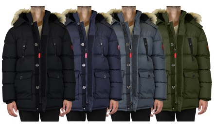 Men's Heavyweight Hooded Bubble Parka Jacket With Detachable Fleece-Lined Hood