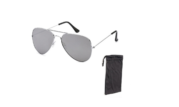 Air Force Vintage Aviator Silver Mirror Lens Sunglasses with Pouch