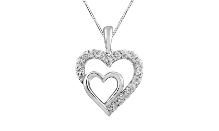 93021d0db45e7b 0.05 cttw Round Diamond Ladies Double Heart Pendant w/18