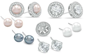 White Sapphire and Pearl Interchangeable Stud Earrings Set (4 Sets)