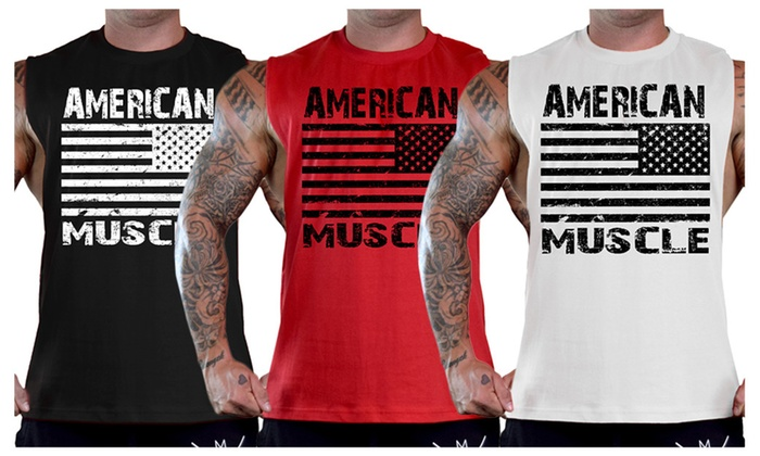 Men's American Muscle US Flag Bodybuilding T-Shirt Tank Top