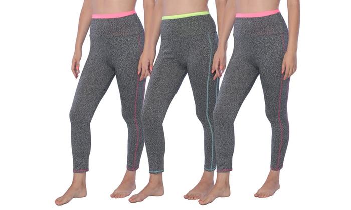 Women's Contrast Striped Gym Leggings 3- Pack L/XL