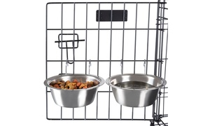 Food and Water Hanging Pet Bowls (Set of 2)
