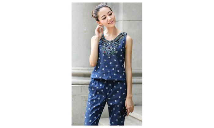 a48b72ddade8 Women s Casual Printed Piece Pants Denim Jumpsuits Trousers UWJ020 - Blue    Small