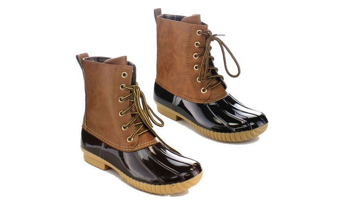Beston  Dylan Women's Two Tone Combat Style Calf Rain Duck Boots