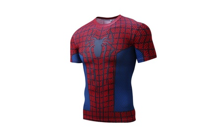 Mens T-shirt Short Sleeve Compression Top Muscle Spiderman Red 8688aac9-4399-4d5a-8183-0a5f631e84c1