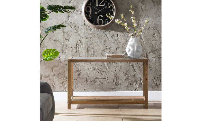 ... Cleary Reclaimed Wood Console Table   Aged Natural W/ Cement Gray