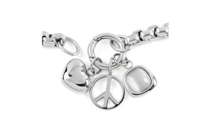 Stainless Steel Box Chain Heart And Peace Symbol Charmed Necklace