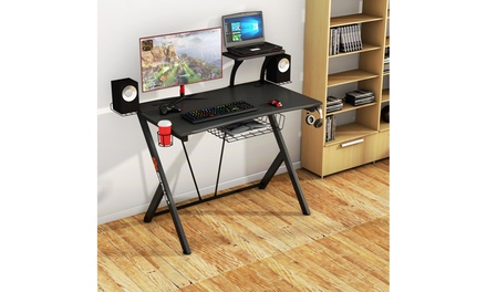 Costway Computer Desk PC Table Workstation with Headphone Hook & Cup Holder