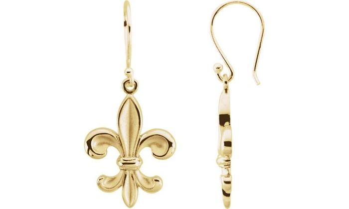 ba894cfff Up To 51% Off on 14K Yellow Fleur-de-lis Earring | Groupon Goods