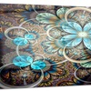 Colorful Fractal Flowers with Blue Shade Metal Wall Art 28x12