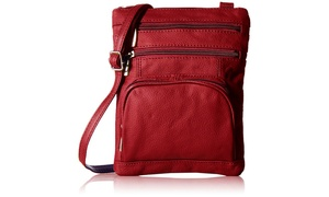 AFONiE Genuine Leather Cross-body Bag Red Color