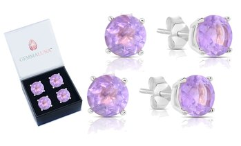 Gemma Luna 2.00 CTTW Genuine Amethyst Stud Earrings (1- or 2-Pack)