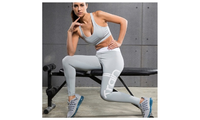 2 Pieces Women's Sports Fitness Yoga Sets Elastic Running Suits
