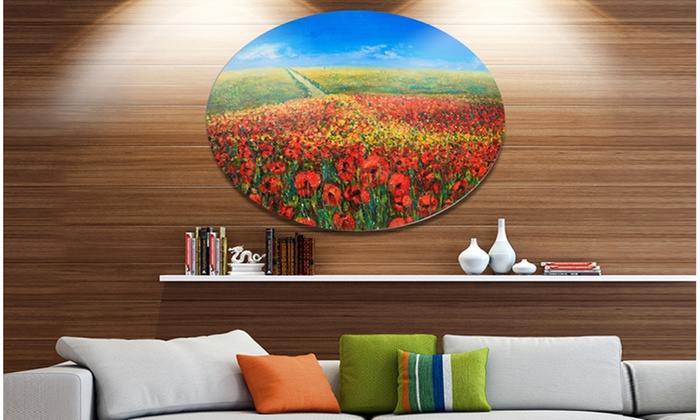 Acrylic Landscape With Red Flowers Extra Large Fl Wall Art