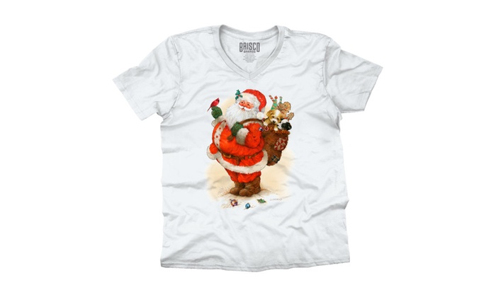 Santa with Toy Sack Holding Cardinal V-Neck T-Shirt