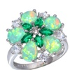 Green Fire Opal Crystal Cubic Zirconia Silver Plated Ring