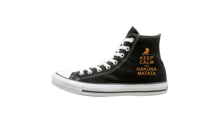 Keep Calm And Hakuna Matata Unisex High Top Canvas Shoes
