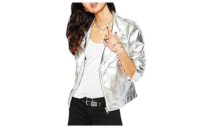 Women's Fashion Cool Silver PU Leather Zipper Moto Blazer Jacket Coat