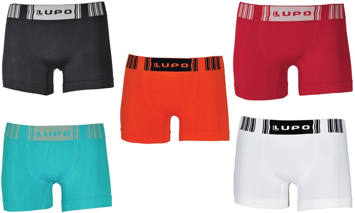 Lupo Mens Classic Wide Waistband Stretch Cotton Boxer Briefs
