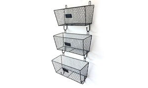 3pcs Office Wall Mounted Mail Metal Rack Basket Storage Organizer