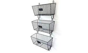 3pcs Office Wall Mounted Mail Metal Rack Basket Storage Organizer