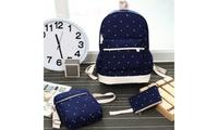 Women Canvas Backpack Girl Student Book Bag with Purse Laptop Bag 3Pcs Set (OSP) photo