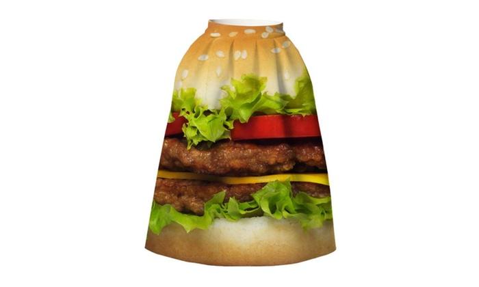 4PING Women's Summer Hamburgers Printing Puff Skirt Tie-Dyed Skirt