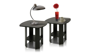 Furinno 2-11180EX Espresso End Table Set (2-Piece)