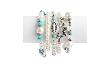 Turquoise Leaf Stretch Bracelet 00519aa7-293c-41d3-9ebf-161ea102677e