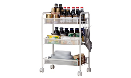 3/4 Tiers 2 Colors Home Kitchen Organizer Hook & Rolling Storage Cart
