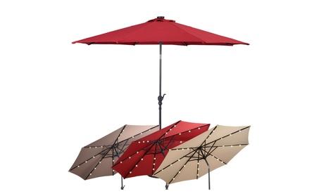 Costway 10FT Patio Solar Umbrella LED Patio Market Steel Tilt W/ Crank 57fb9e04-9263-48f8-ab79-5f60da32c4be
