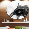 Paris Eiffel Towerin Black and White Side View' Ultra Glossy Cityscape Circle