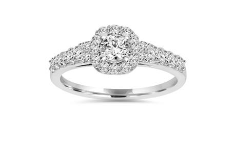 3/4 CT Cushion Halo Round Diamond Engagement Ring 14K White Gold 11ae91a7-c6bd-4b3d-af3e-0e156f8fd5c2