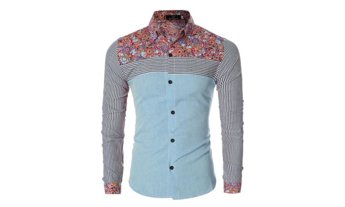 Men's Casual Buttons Up Fashion Simple Graphic Shirt
