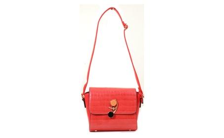 Red Mock Croc Vegan Leather Retro Inspired Valentine Crossbody Purse (Goods Women's Fashion Accessories Handbags Cross-Body) photo