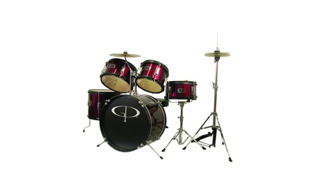 GP Percussion Musical Instrument 5 Piece Junior Drum Set Wine red 2ca8525c-dabb-4525-8905-3495bbe7cb74