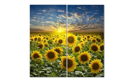 "Split Canvas Art Set 12""x 24"" 2 Pieces Sunflower Field 7e14b82a-37b9-4647-911b-2ea7dbbe918d"