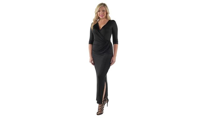 7e461ef69d4 24 7 Comfort Apparel Women s Plus Size Long V-neck Wrap Dress