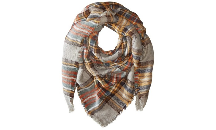 Navy and Multi Colored Plaid Oversize Blanket FASHION Scarf