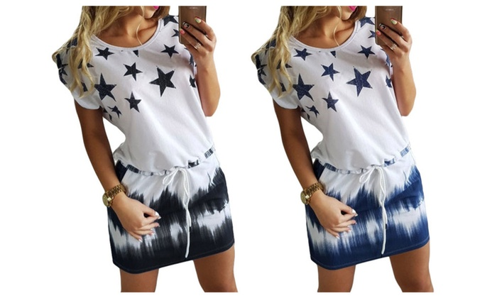 Stylish Round Neck Star Print Gradient Shift Dress