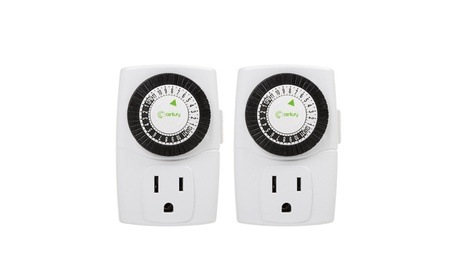 Indoor 24-Hour Mechanical Outlet Timer, 3 Prong, 2-Pack photo