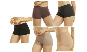 Women Seamless Stretch Boy Shorts Panties Various Styles Pack Of 6