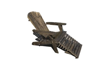 image for Collapsible Adirondack Chair With Pullout Ottoman