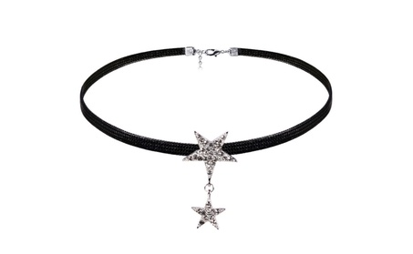 Black Color Wax Star Crystal Rope Choker Necklace 99bba8ef-f01f-42ad-abba-05392a723a24