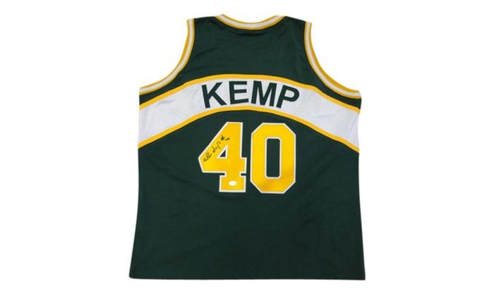 Autographed Shawn Kemp Seattle Sonics Green Custom Jersey  284b3450a57f