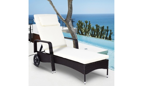 Costway Outdoor Chaise Lounge Chair Recliner Cushioned Patio Furniture