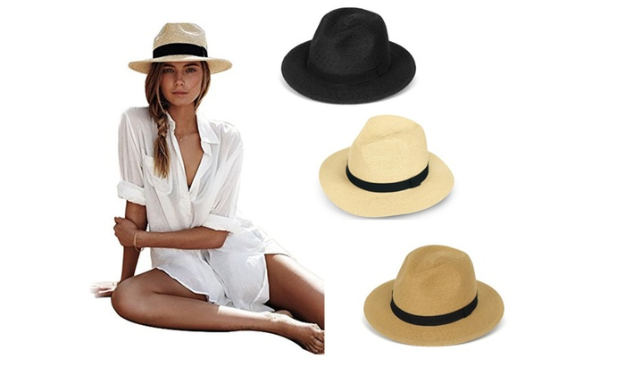 Summer Cool Panama Wide brim Fedora Straw Made Indiana Jones Style Hat ... 1f170c1de